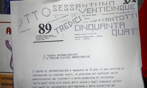 """""""Foglio del gruppo informazione"""" giornale politico uscito ad Albino dal 1974 al 1989"""