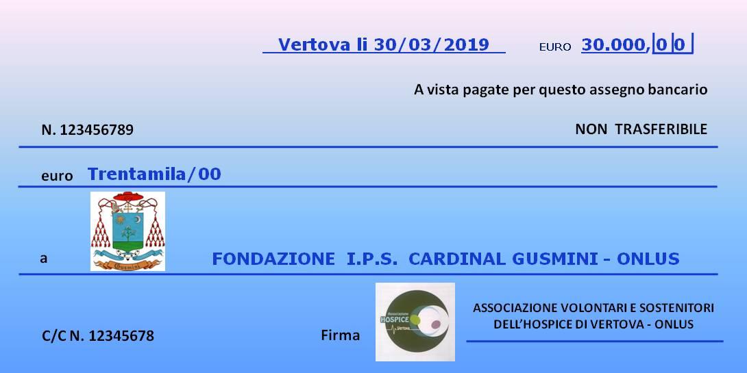 Un assegno di 30.000 euro per l'Hospice di Vertova