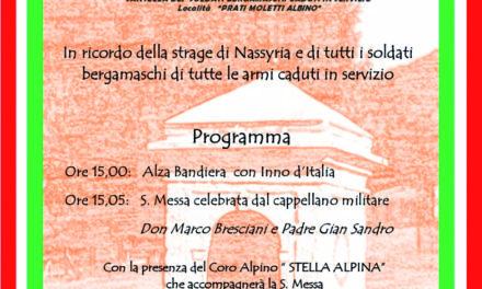 16 novembre: ai Prati Moletti, Messa di suffragio per i soldati italiani caduti in servizio