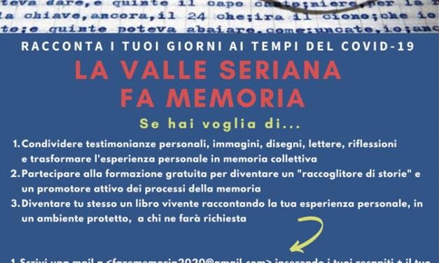 """""""La Valle Seriana fa memoria"""": nascono i """"libri viventi"""" in tempo di Covid-19 e i """"raccoglitori di storie"""""""