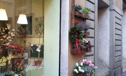 Insegne anticate e fiorite nel centro storico di Albino